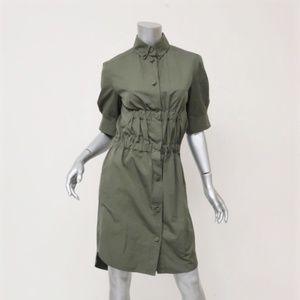 Louis Vuitton Shirt Dress Olive Ruched Cotton